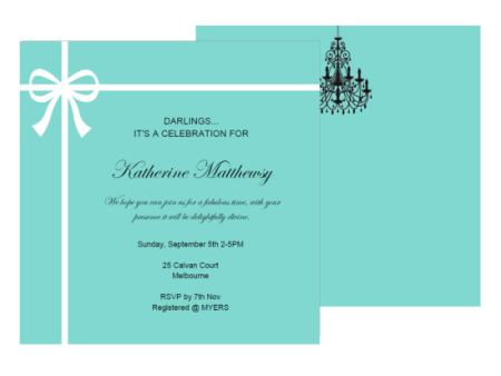 editable tiffany baby shower, bridal shower, birthday invitation, breakfast at tiffanys ribbon