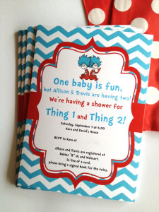 Dr Seuss Thing 1 and 2 Twins Birthday Party or Baby Shower Printable Invitation