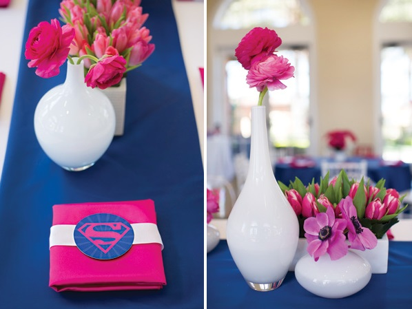 Pink Blue Supergirl Birthday Party Decorations Flower