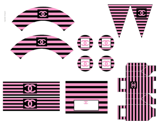 Classy & Fabulous coco chanel party printables in pink black and white stripes