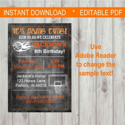 Editable Digital Chalkboard Style Basketball Party Invitation INSTANT DOWNLOAD