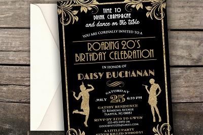 Great Gatsby Birthday Invitation Art Deco Birthday