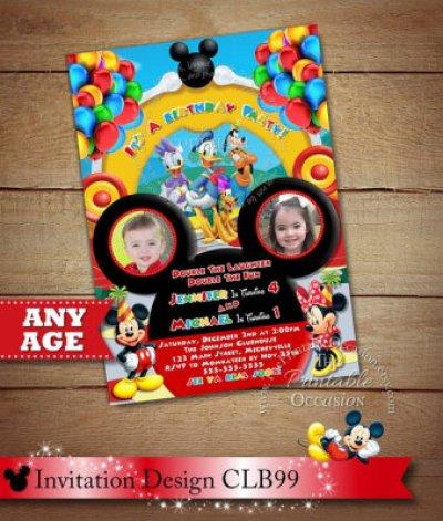 Mickey Minnie Twins Birthday Invitation, Twins Siblings Clubhouse Mickey Minnie Invitations