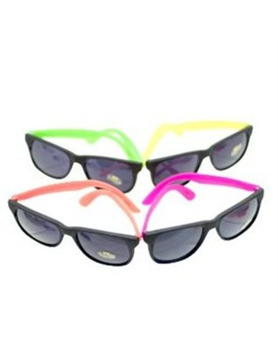 NEON 80's style PARTY SUNGLASSES with dark lens