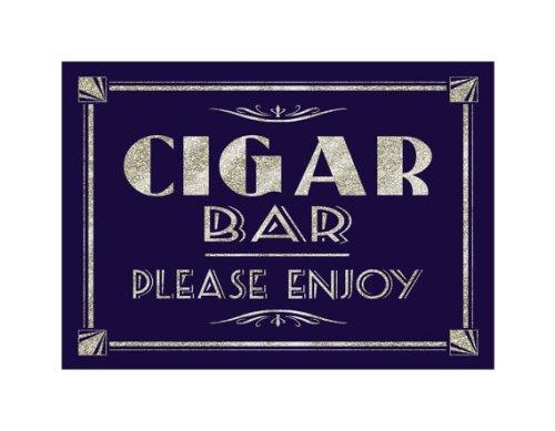 Printable CIGAR BAR please enjoy-Art Deco Great Gatsby 1920's theme-instant download digital file