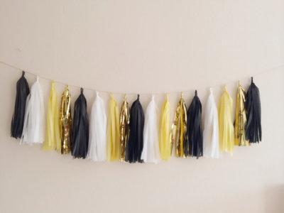 Yellow, Black and Gold Tassel Garland - Gatsby Decor, Party Decor Banner, Birthday Decoration, Wedding Decor, Baby Shower & Photo Prop