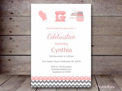 bs76 kitchen bridal shower invitation, baking birthday invitation