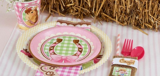cowgirl tableware in pink
