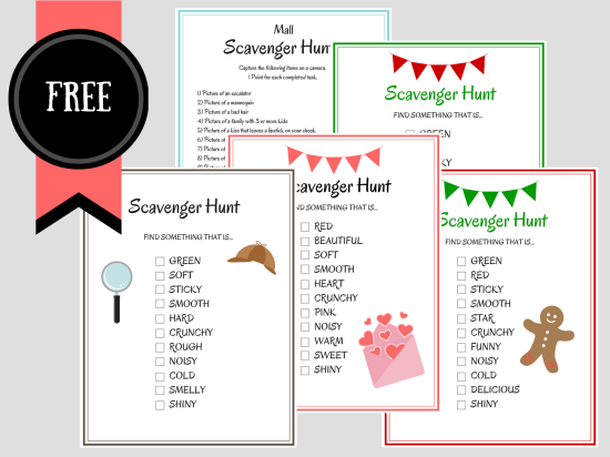 free printable birthday party scavenger hunt games