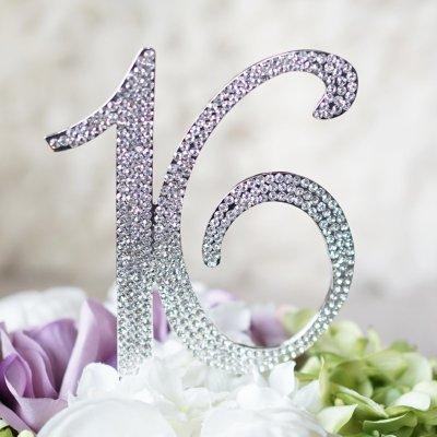 16 Birthday Cake Topper - Monogram Rhinestone Silhouette wCrystals