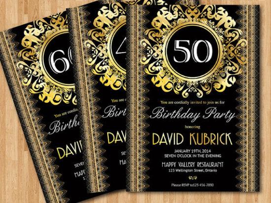 50th Gold birthday invitation. 30th 40th 50th 60th 70th 80th