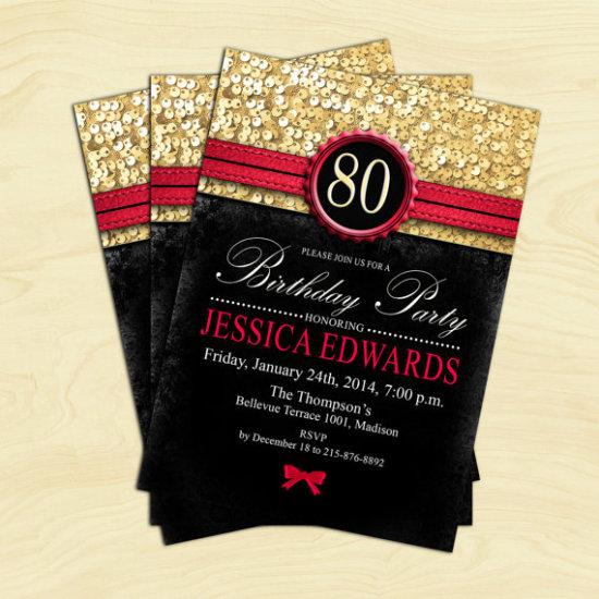 Black Red Gold Birthday Invitation