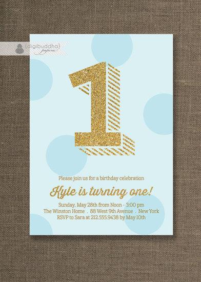 Blue and Gold Birthday Invitation