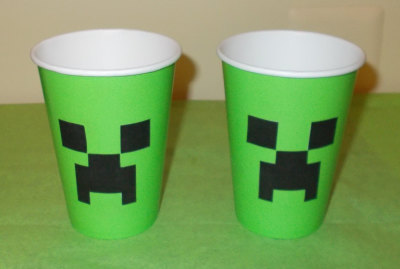 Minecraft Inspired Creeper Face for Party Cup or Cups