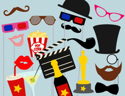 Movie Photo booth Props, Hollywood Star Photo booth Party Props