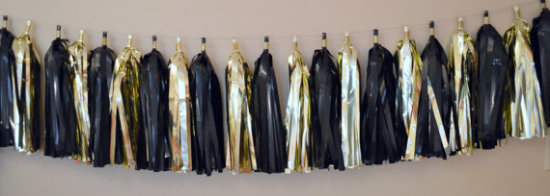 OSCAR Party Decoration - Tassel Garland - Black and Gold Tassel Garland