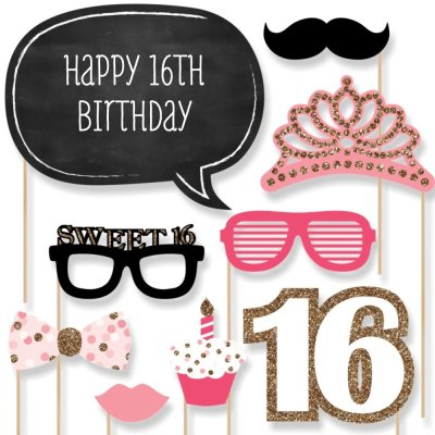 Sweet 16 Birthday - Photo Booth Props Kit