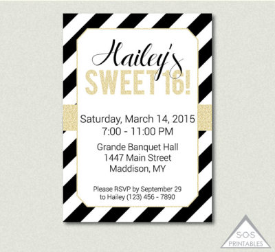 Sweet 16 Invitation, Black and White Party, Gold Sweet Sixteen