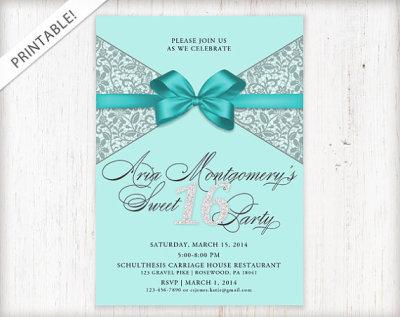 Sweet 16 Invitation - Sweet Sixteen Birthday Invite - Tiffany Blue