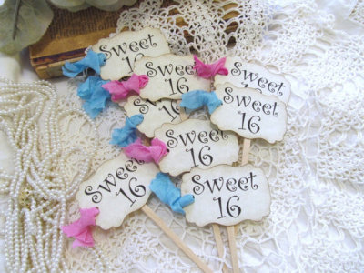 Sweet 16 Sixteen Cupcake Toppers Ribbons or Sweet Fifteen Birthday Quinceanera