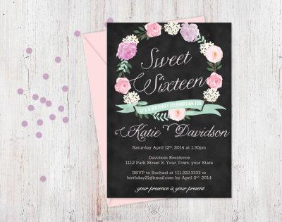 Sweet Sixteen invitation, Sweet 16 invitation, PRINTABLE, floral wreath, chalkboard blackboard