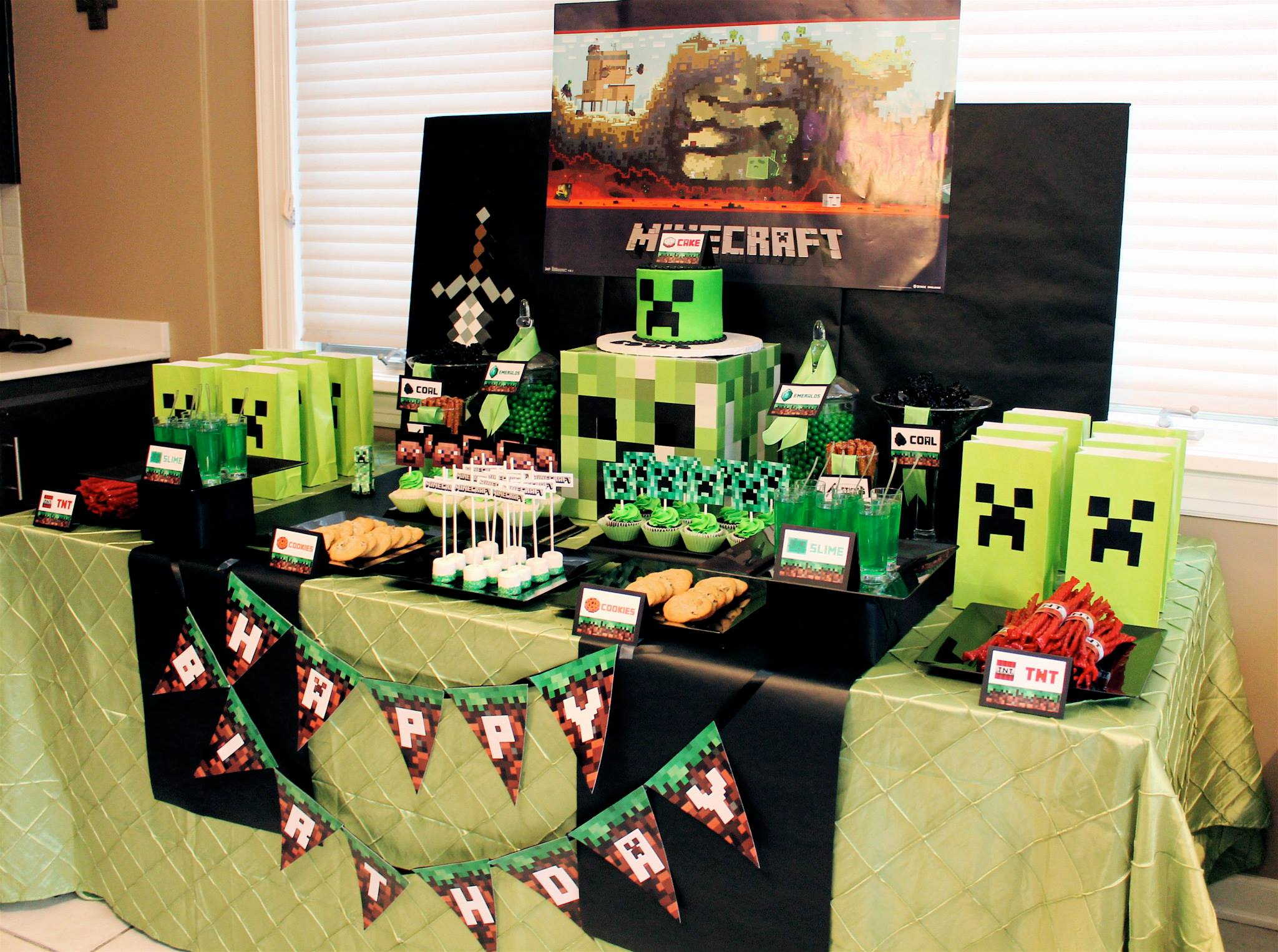 Minecraft creeper birthday party birthday party ideas for Decoration ideas 7th birthday party