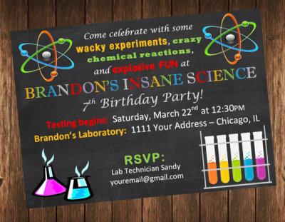 Insane Science Birthday Party Invitation, Science Laboratory Invite