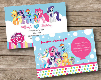 My Little Pony Birthday Party Personalised Invitation Card Custom Invite Kids Balloon Colorful