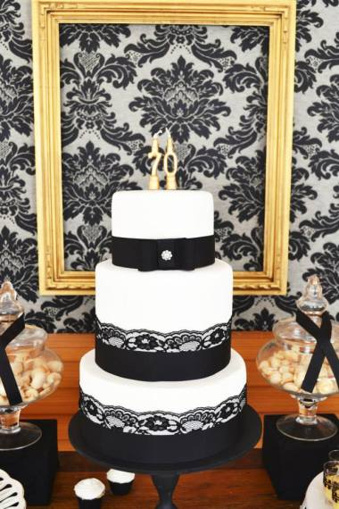 black-damask-70th-birthday-party-dessert-table-cake-centerpiece
