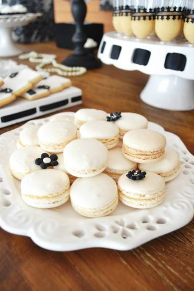 black-damask-70th-birthday-party-ideas-macarons