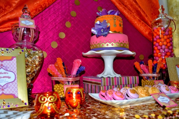 gold-moroccan-teen-birthday-party-ideas-dessert-table-gold-garlands