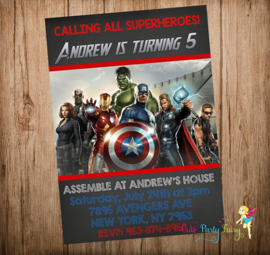 Avengers Birthday Invitation, Avengers Invitation, Avengers Party Invitation, Avengers