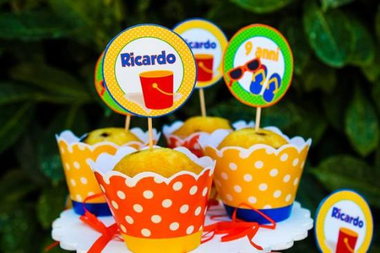 Colorful Beach Birthday Party snacks cupcakes