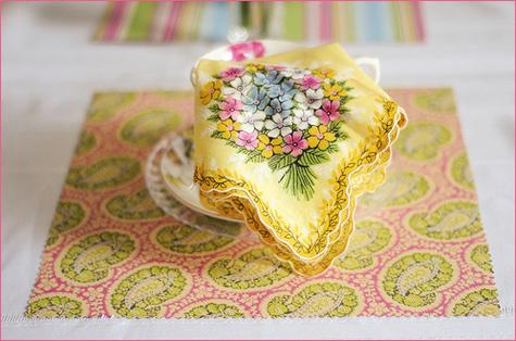 Vintage Inspired Tea Party napkin hanky decoration