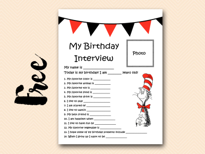 cat-in-hat free printable birthday interview, birthday games, birthday activity printables