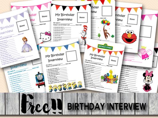 free printable birthday interview, birthday games, birthday activity printables