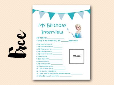frozen elsa curious-george free printable birthday interview, birthday games, birthday activity #birthday #party