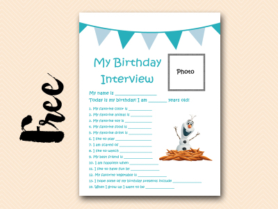 olaf curious-george free printable birthday interview, birthday games, birthday activity #birthday #party