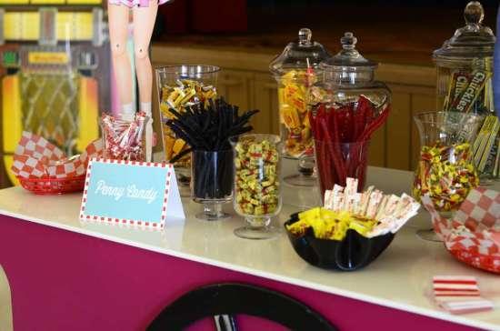 50's Diner Soda Shop Party candy bar closeup