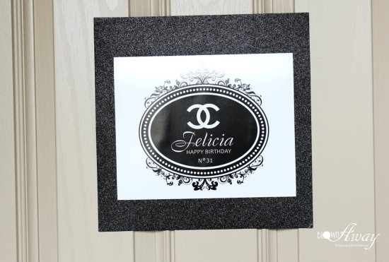 welcome sign for chanel party