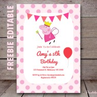 Free-editable-peppa pig invitation editable princess peppa