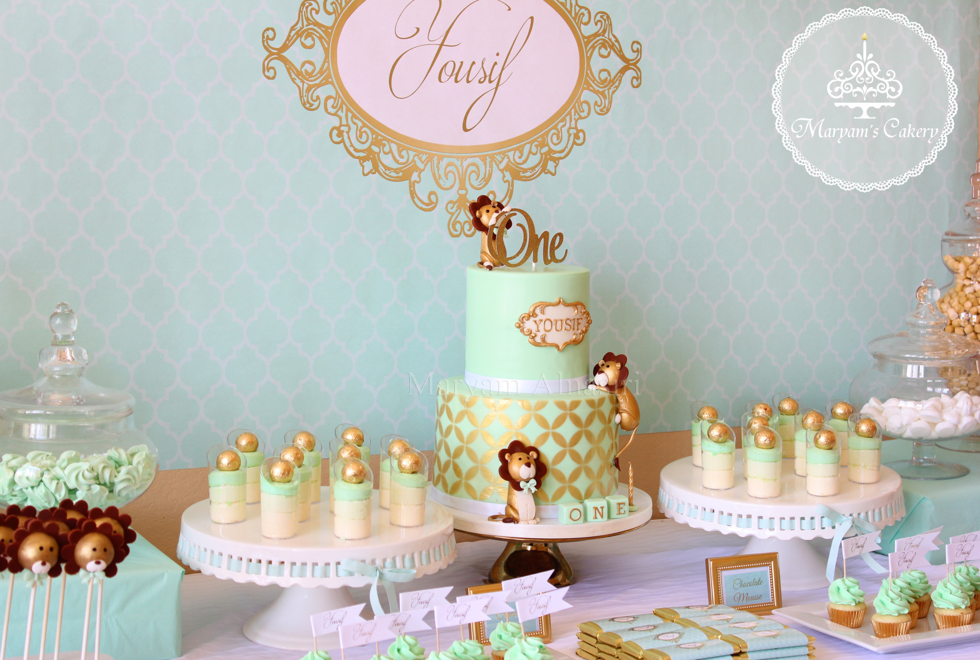 Green And Gold Lion 1st Birthday Birthday Party Ideas Themes