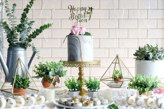 Whimsical-Marble-Birthday-Party-Dessert-Display