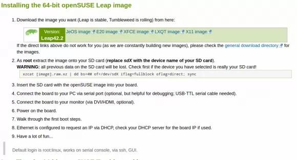 openSUSE Leap 42.2 64-Bit für den Raspberry Pi 3 ist verfügbar