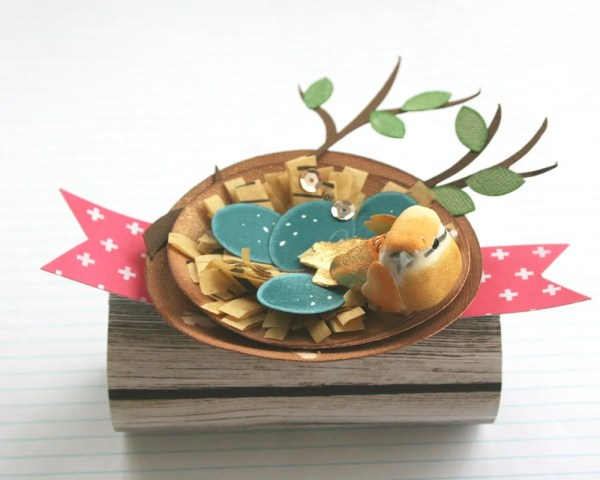 shabby chic paper bird nest party favors