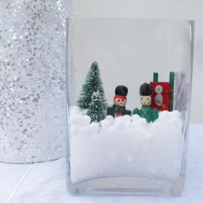 DIY Snow globes with vintage ornaments