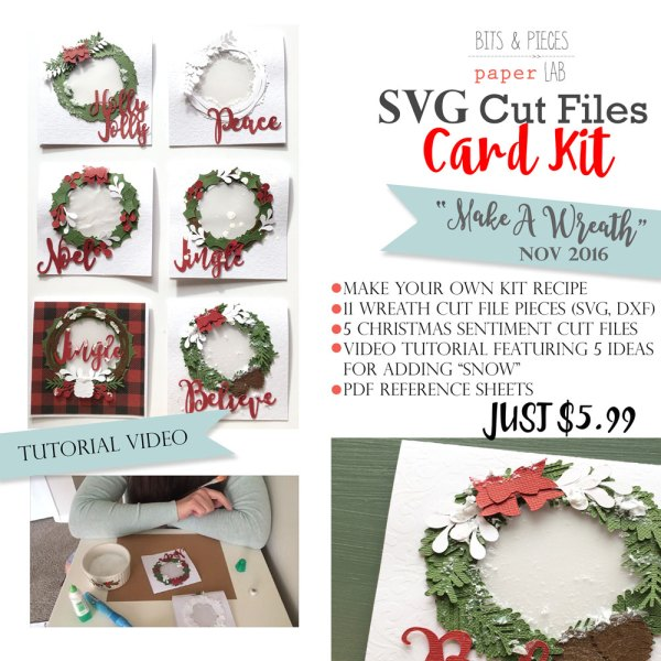 Make a Wreath Christmas card kit cut files