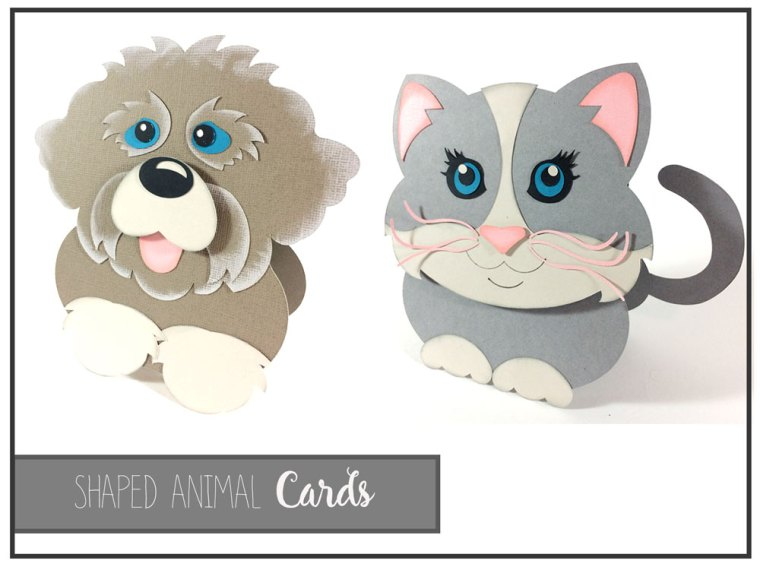 Shaped Animal Cards SVG cut files and Action Wobble Springs