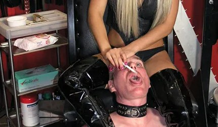 Beautiful Young Mistress Trains and Uses a collared slave as an Ashtray