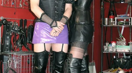 Gorgeous Dominatrix in Leather and Boots Humiliates Her sissified slave